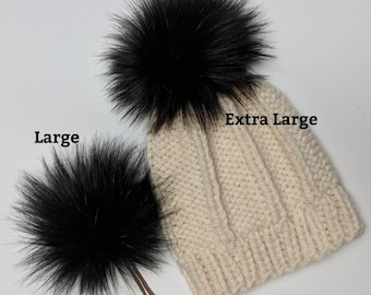 cbf9e12bff9c0d Faux fur pom pom, black, luxury, 3 sizes, hat topper, medium, large, extra  large, 5 inch, 6 inch, 7 inch, long pile, fluffy, black faux fur