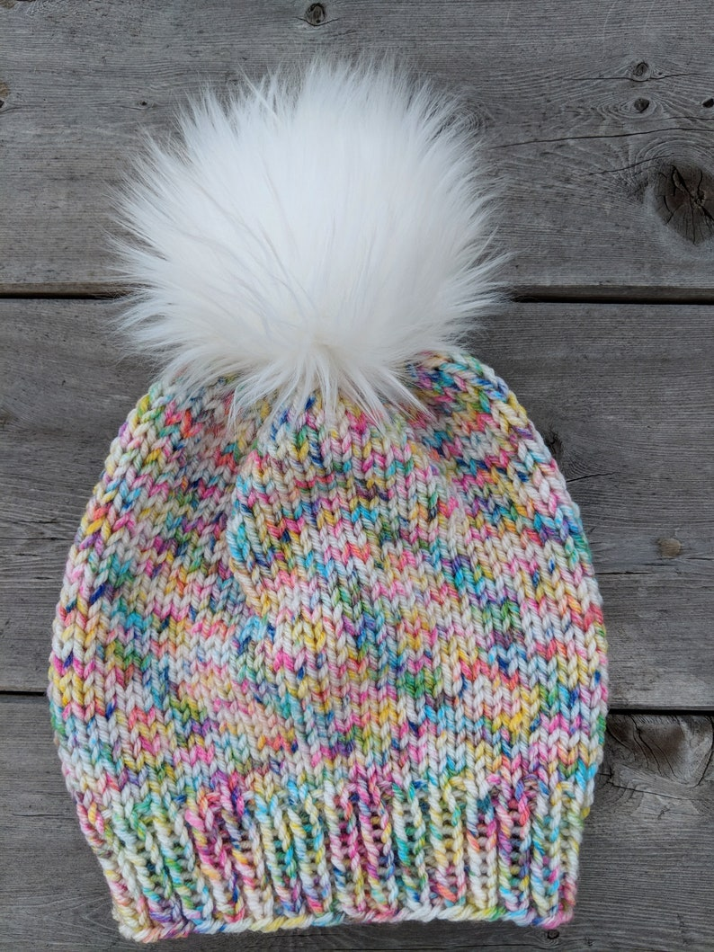 a0c488c3d7a Girl s winter hat READY TO SHIP confetti faux fur pom