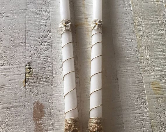 Burlap Flor-ever - Handmade Rustic Greek  Orthodox Wedding Candles (Lambathes)