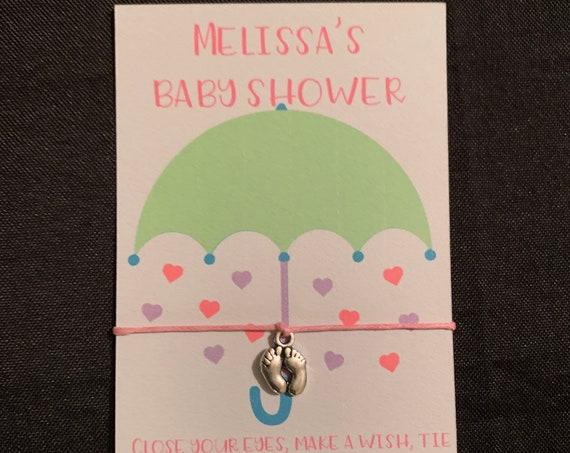 10 Baby Shower Wish Bracelet - Party Favors - shower favors- personalized shower bracelets- it's a girl- it's a boy - virtual baby shower -