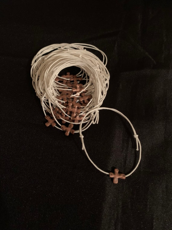 20 - Baptism Martyrika (Witness Bracelets) / Wax  Cord /copper Cross Martyrika Bracelets- baptism favors - greek traditions- birthday favors