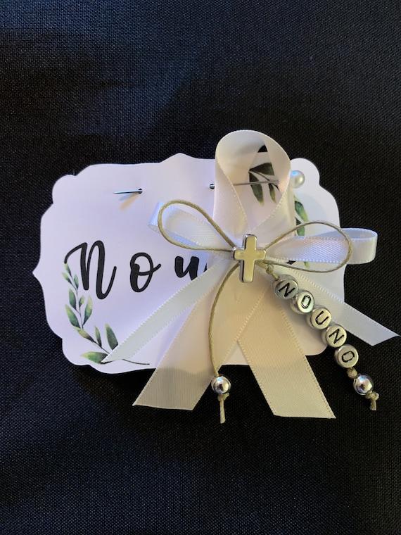 Personalized Martyrika Pin- Greek orthodox baptisms- Nouna Nouno - godparents- grandparents- parents