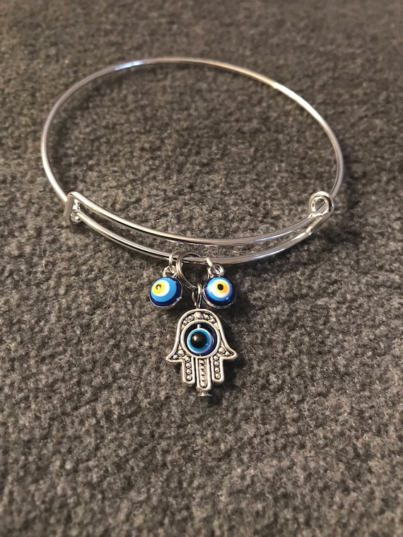 Hamsa Hand Evil Eye Charm Bangle Bracelet - buy any  3 or more get 1 free