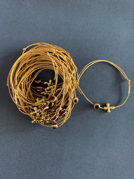 50- Baptism Martyrika (Witness Bracelets) /Gold Wax  Cord / Cross Martyrika & Evil Eye Bracelets