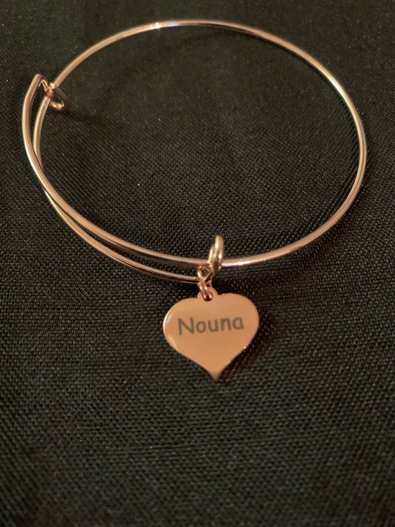 Nouna bangle bracelet - greek godmother gift - godmother proposal gift - will you be my Nouna, gift from godchild -