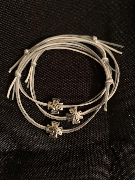 50- Baptism Martyrika (Witness Bracelets) Double cord bracelet with silver cross bead- Greek Orthodox- Party Favor - Birthday- Baby Shower