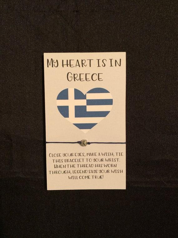 My heart is in Greece- wish bracelet - greek family gift- Greek mom wish bracelet gift - yiayia wish bracelet