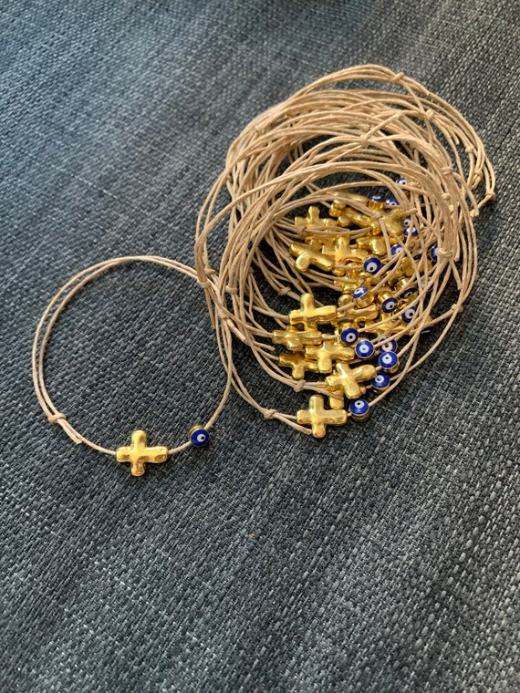 25 - Baptism Martyrika Witness Bracelets Gold Cross  tiny evil eye bead Martyrika Bracelets- baptism favors - birthday favors