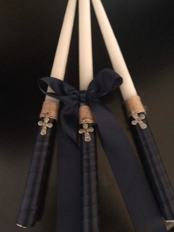 Cross Twine & Navy Satin Bow - Greek  Orthodox Baptism - Includes: Three Candles (Lambathes)