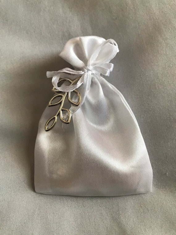 "Satin Bag Boubounieres ""Koufeta"" - Wedding favors (Candy Coated Almonds)"