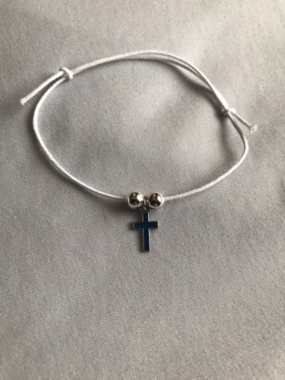 50- Blue/Silver Cross & White Wax Cord Martyrika Bracelets