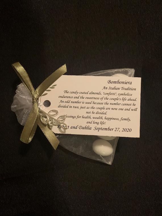 """50 - Italian - Bomboniera""""Confetti"""" - Wedding favors - wedding tradition - italian wedding- sugared almonds- personalized favors"""