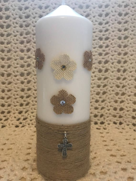 Cross Twine - Handmade Rustic Christening Candle