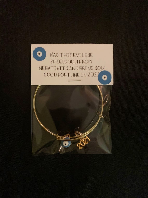 Evil Eye Happy New Year Bangle, Hello 2021 - Goodbye 2020- good fortune - christmas jewelry gift- thinking of you- protect against harm