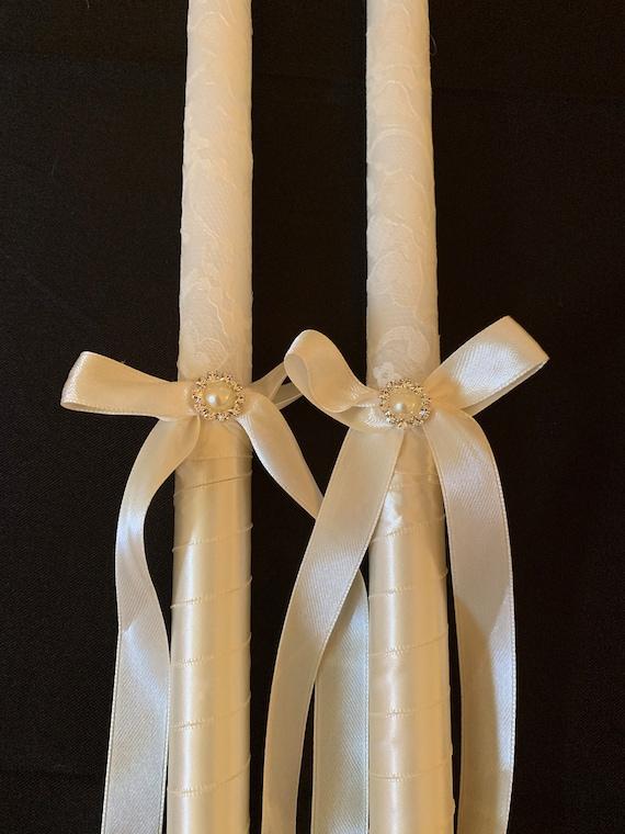 Simple Lace- Handmade Greek Orthodox Wedding Candles (Lambathes)