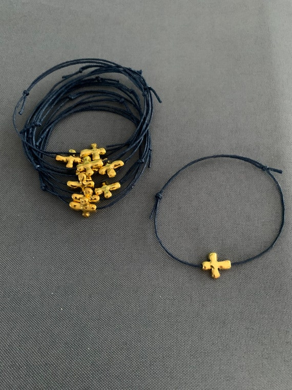 50- Baptism Martyrika (Witness Bracelets) Navy Blue Wax  Cord /Gold Cross Martyrika Bracelets