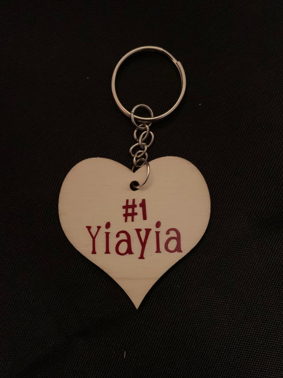 """Yiayia Keychain gift- personalization available on back side (ie: Love, """"Grandchildren name(s)"""")"""