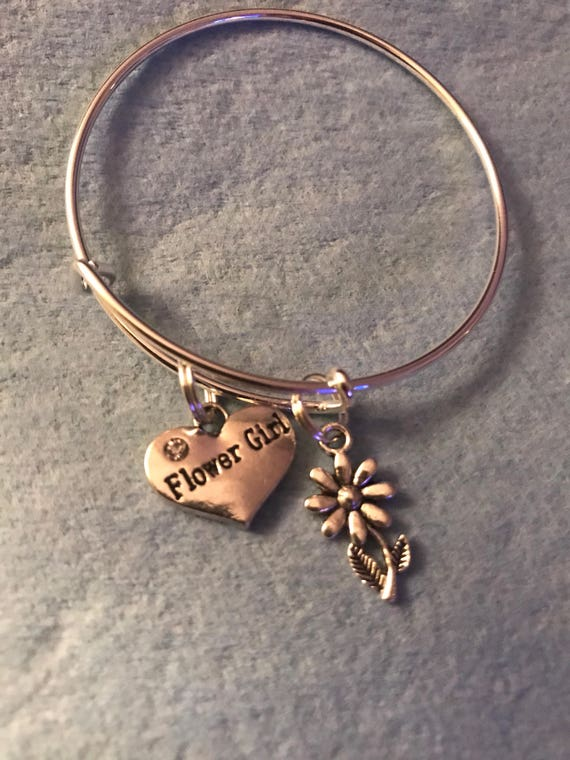 Flower Girl Charm Bangle - buy any  3 or more get 1 free