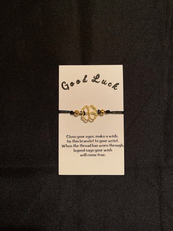 Good Luck Wish Bracelet- Graduation gift- Shamrock wish bracelet- High School- miss you - thinking of you- personalize- Senior Class- 2020