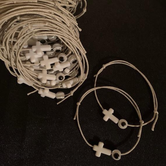 50- Baptism Martyrika (Witness Bracelets) / Silver Wax  Cord / White Cross Martyrika /Mati Bead Bracelets