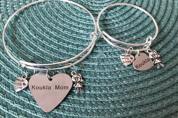 "Koukla Mom  & (Little) Koukla Charm Bangle Bracelet ***Pretty Little Doll's Mom"" ""Pretty Little Doll*** Matching Bangle Charm Bracelet Set"