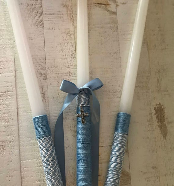 Cross Twine - Greek Orthodox Baptism Candles - Includes: Three Candles (Lambathes)