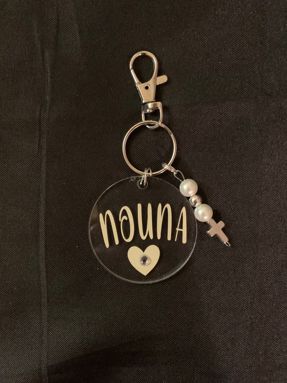 Keychain for Nouna - gift for godmother - thinking of you- miss you- nouna proposal -Cross or Evil Eye keychain