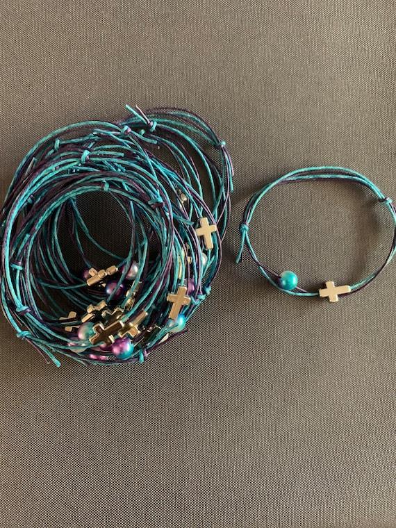 50- Baptism Martyrika (Witness Bracelets) Silver Cross/Mermaid Bead & Double Wax Cord Martyrika Bracelets