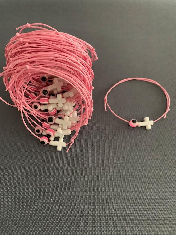50- Baptism Martyrika (Witness Bracelets) / Pink Wax  Cord / White Cross Martyrika /Mati Bead Bracelets- greek traditions- evil eye -