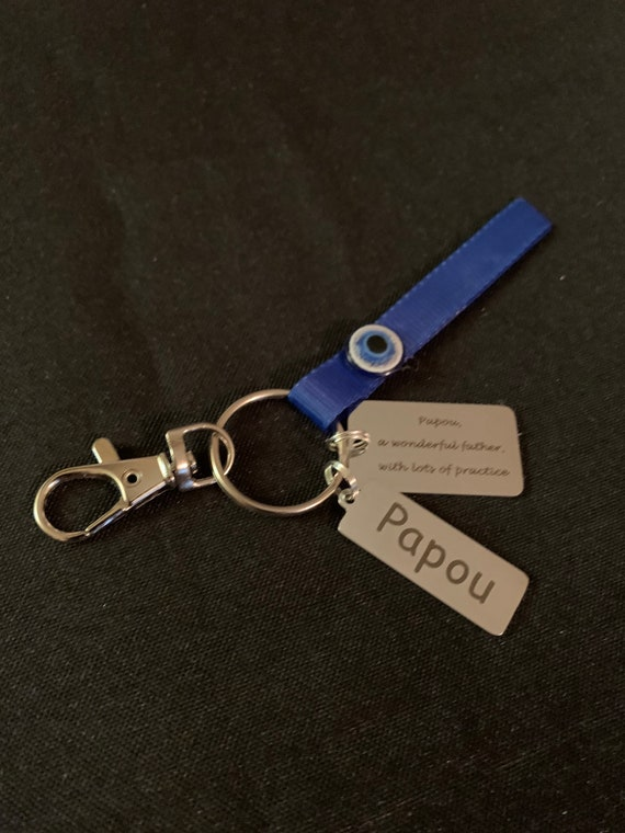 Papou Key Chain - great father gift- greek grandpa - best papou - miss you - thinking of you- cross- christmas gift papou- stocking stuffer