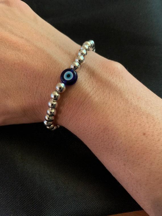 Evil Eye- Beaded Stretchy- Protection Bracelet - Friendship- Minimalist- Bohemian Style -