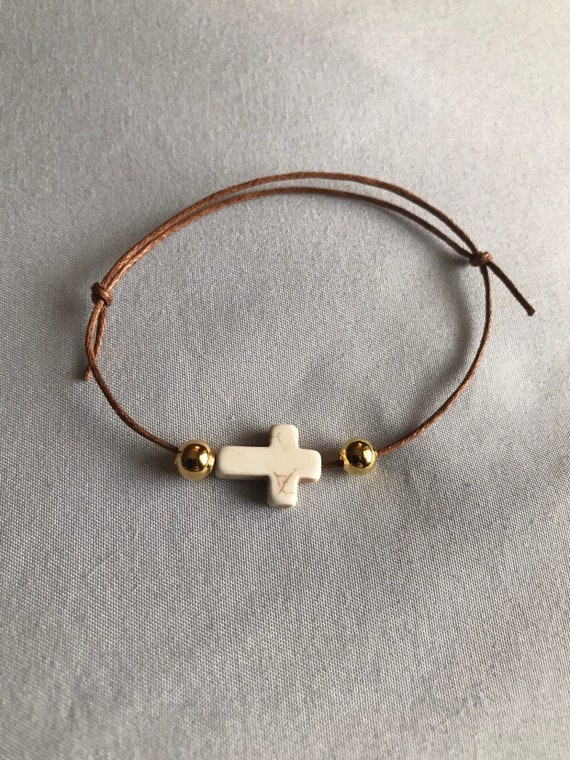 50- Brown Wax Cord / Stone Cross Martyrika Bracelets