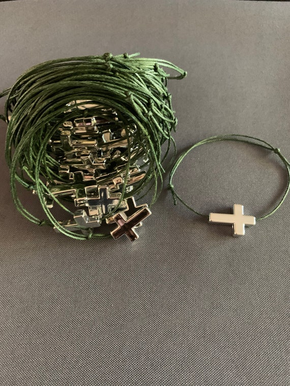 50- Baptism Martyrika (Witness Bracelets) Silver Cross Martyrika Bracelets