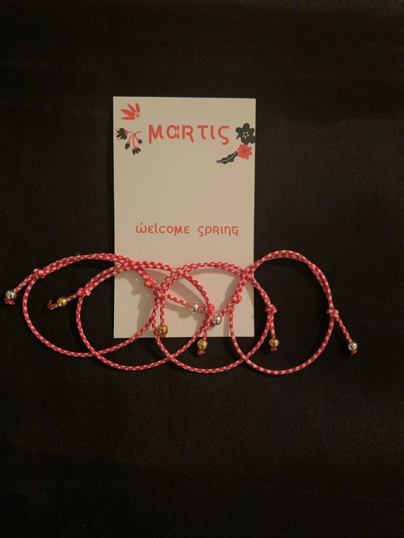 Martis Bracelet - Greek March traditions - Bulgarian - Spring is here - Red and White string- friendship bracelet