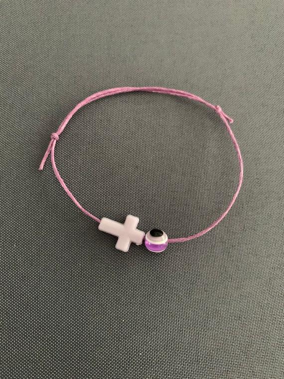 50- Baptism Martyrika (Witness Bracelets) Purple Wax  Cord / Lavender Cross Martyrika Bracelets
