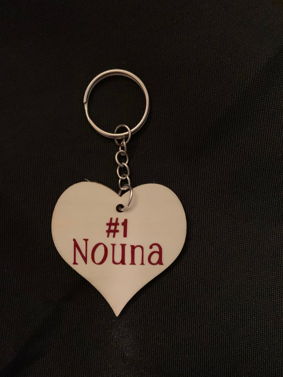 """Nouna Keychain gift- personalization available on back side (ie: Love, """"Godchild name"""")"""