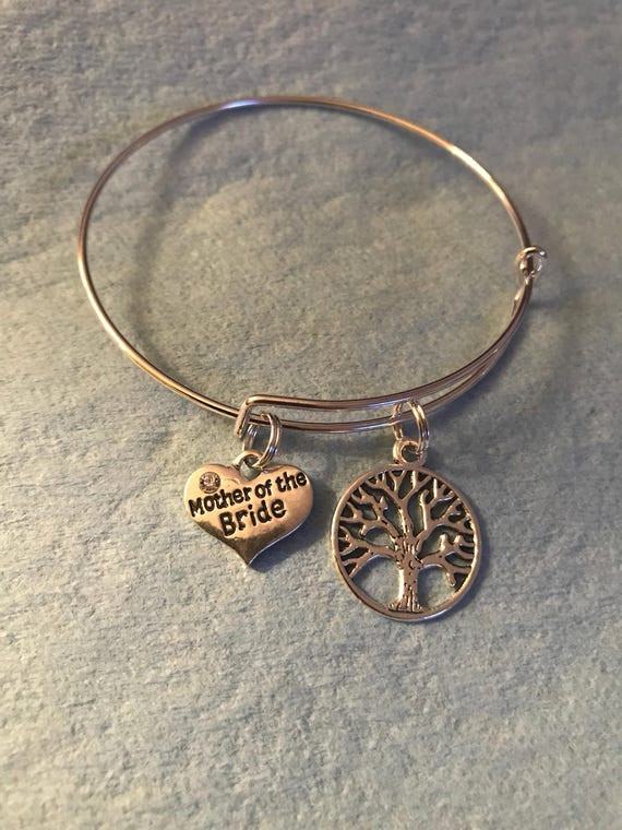 Mother of the Bride Charm Bangle Bracelet