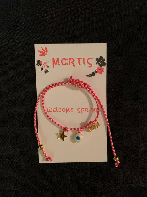 Martis Bracelet - Greek Spring Bracelet- March traditions - Spring is here - Red and White string- Evil Eye -