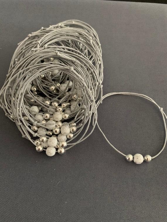 50- Baptism Martyrika (Witness Bracelets) / Gray/Silver Wax Cord/ White/Silver Cross Bead Martyrika Bracelets
