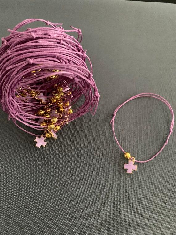 50- Baptism Martyrika (Witness Bracelets) / Lavender Enamel Cross Martyrika Bracelets