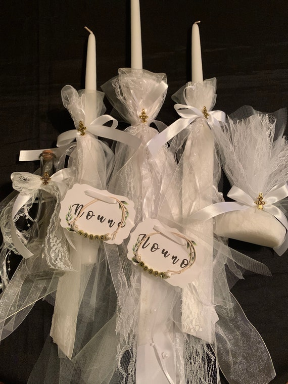 Greek Orthodox Baptism Lambathes Includes: Three Candles Lambathes- Baptism candles- Christening candle set - Personalized Baptism Candles
