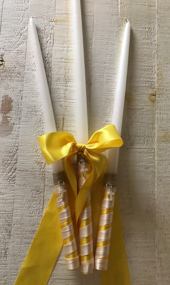 Blended Cross Twine & Satin Bow - Greek  Orthodox Baptism - Includes: Three Candles (Lambathes)