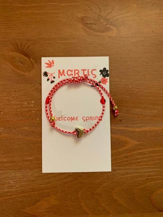 Martis Bracelet - Greek Spring Bracelet- March traditions - Spring is here - Red and White string- Gold Heart - Good luck
