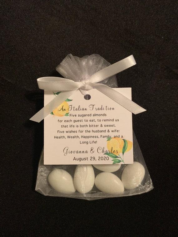 "50 - Italian - Bomboniera""Confetti"" - Wedding favors (Candy Coated Almonds) - Wedding tradition- bridal shower- lemon- limoncello theme"