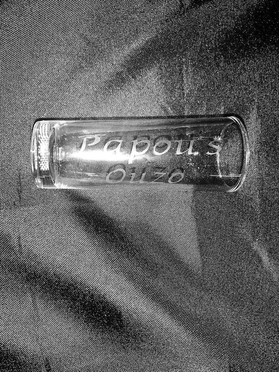 Papou's Ouzo Shot Glass - greek grandpa shot glass- thinking of you- greek liquor - personalized shot glass - glass etching