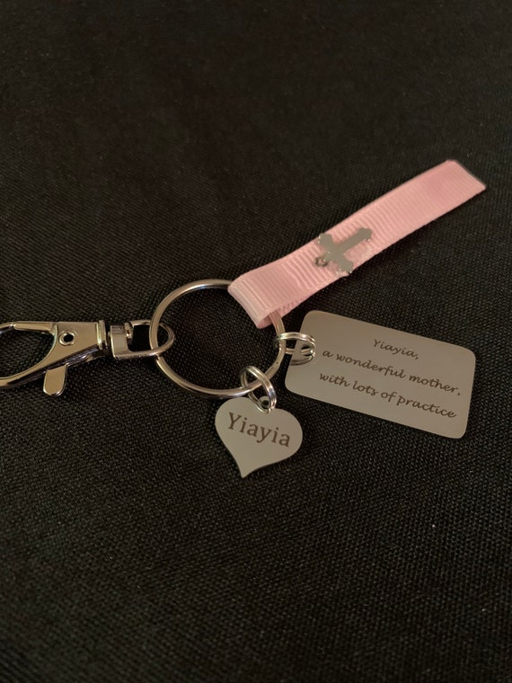 Yiayia key chain gift - best yiayia - stocking stuffer- miss you yiayia - greek grandma- great parents with lots of practice-