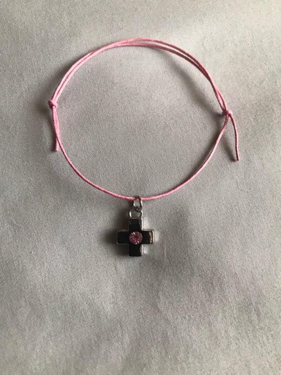 50- Silver Cross / Pink Rhinestone Martyrika Bracelets
