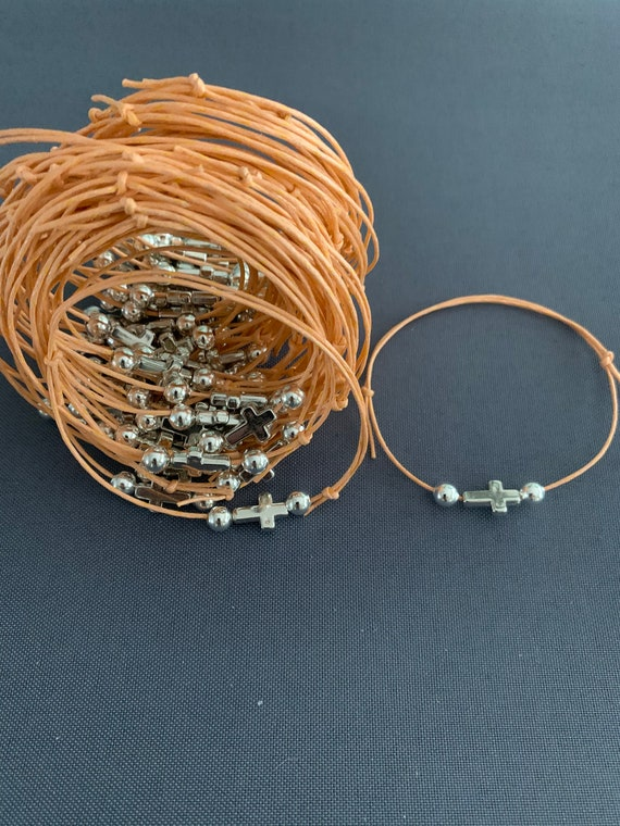 50- Baptism Martyrika (Witness Bracelets) / Silver Cross & Peach Wax Cord Martyrika Bracelets
