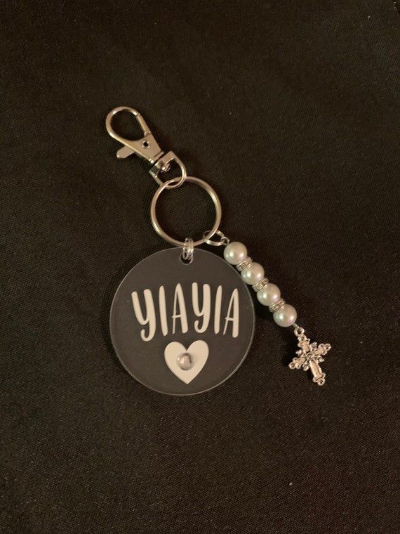 Keychain for Yiayia - gift for grandma- mothers day - thinking of you- miss you- pregnancy announcements- Cross Evil eye keychain