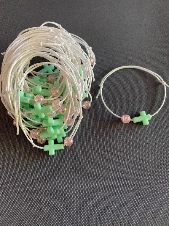 50- Baptism Martyrika (Witness Bracelets) Mint Cross Martyrika /Pink Bead Bracelets